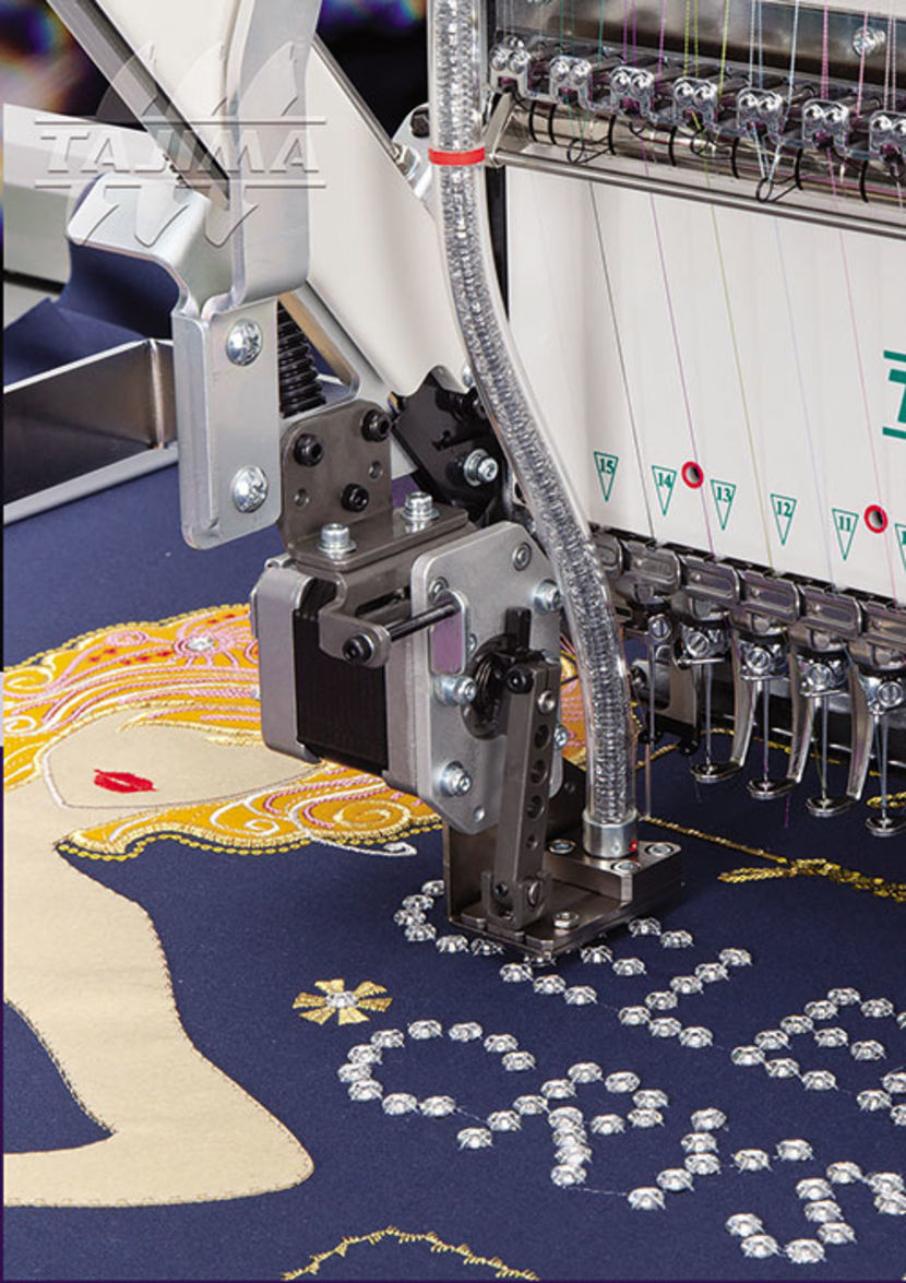 Industrial embroidery machine lockrose device